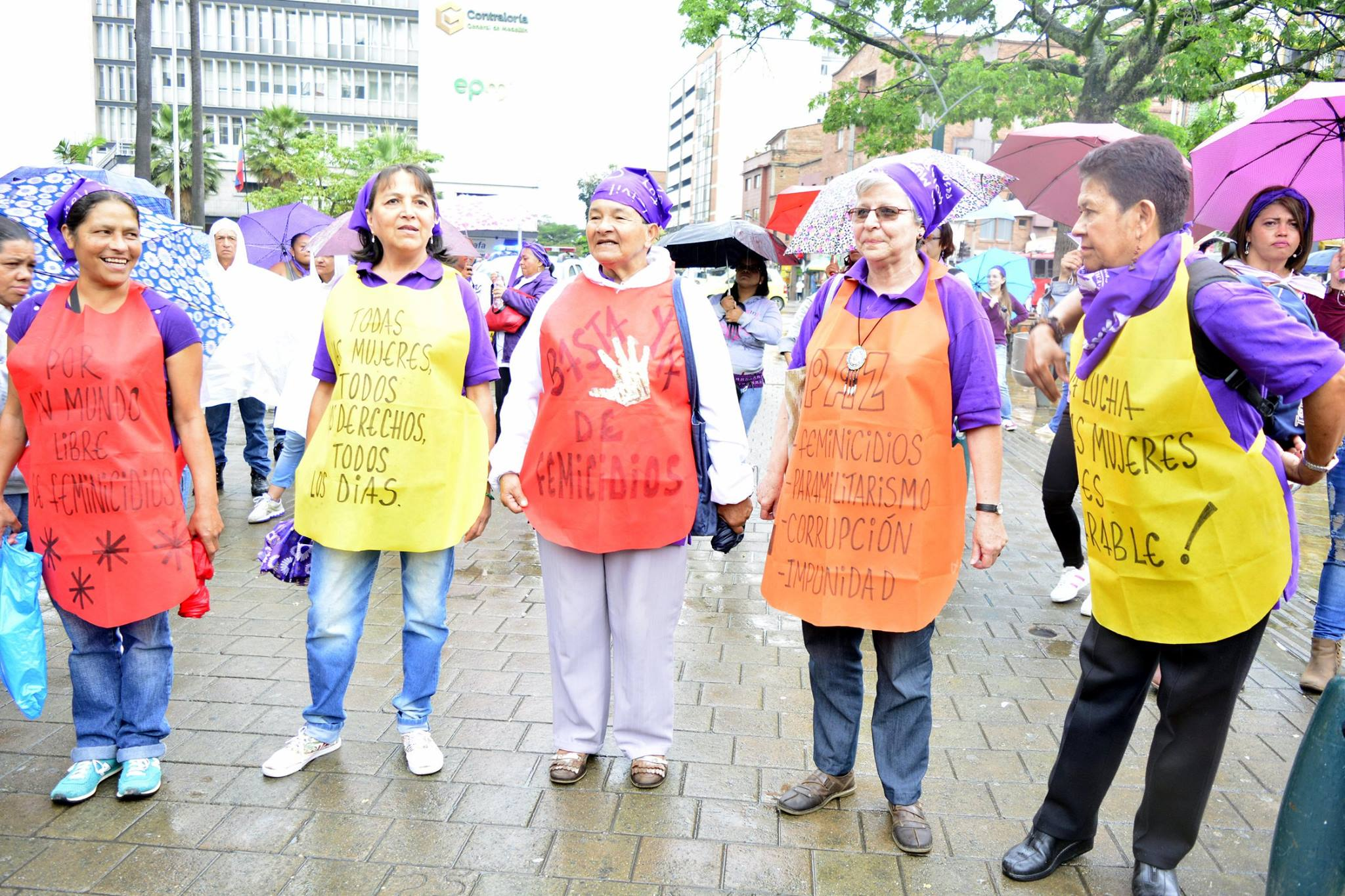 Protestors at International Women's Day March, Medellin